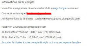 ID chaine Youtube